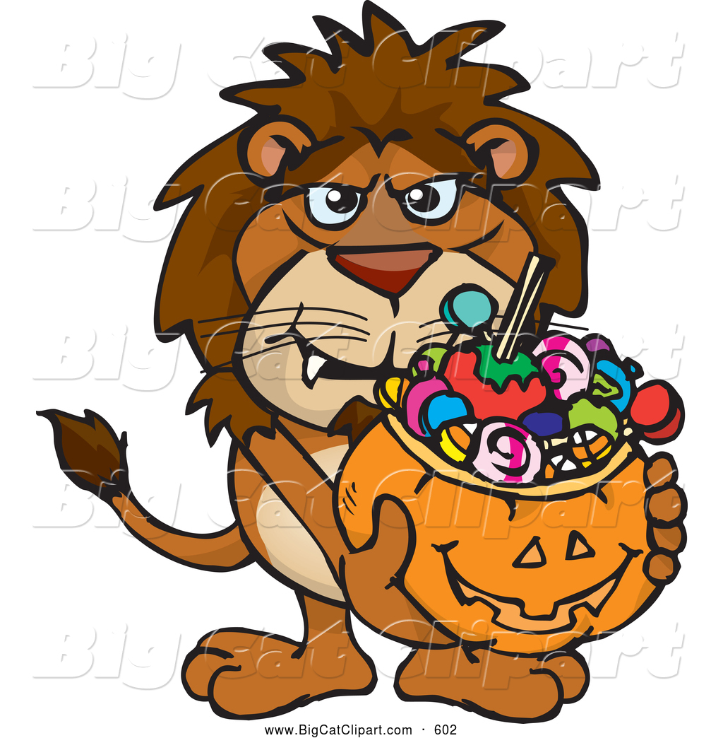 1024x1044 Big Cat Cartoon Vector Clipart Of A Scary Trick Or Treating Lion