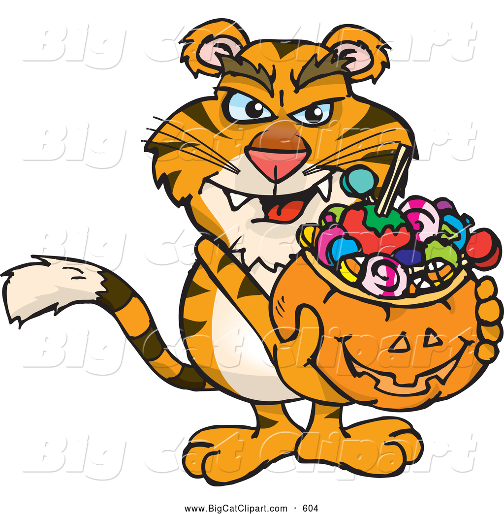 1024x1044 Big Cat Cartoon Vector Clipart Of A Scary Trick Or Treating Tiger