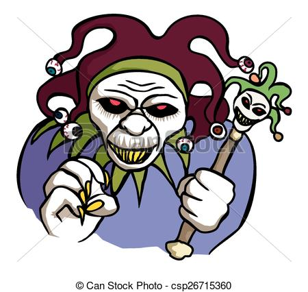 450x426 Evil Jester. A Scary And Malevolent Looking Jester With Clip