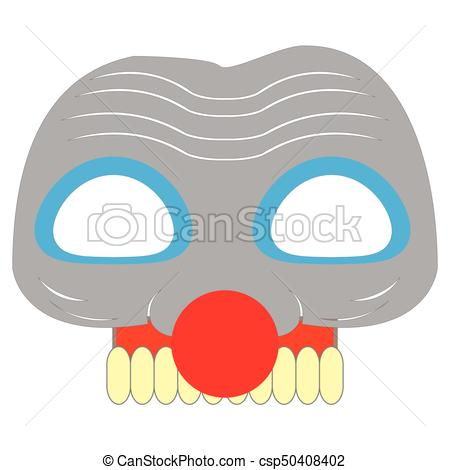 450x470 Scary Clwon Mask. Isolated Scary Clown Mask On A White Vector