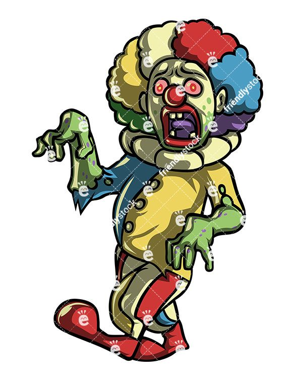 585x755 Creepy Scary Clown Zombie Vector Cartoon Clipart Scary Clowns