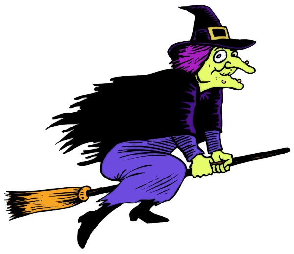 600x518 Clipart Of Witch With Broom