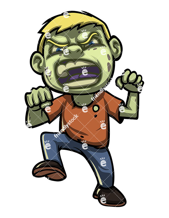 585x755 Scary Little Boy Zombie Vector Cartoon Clipart