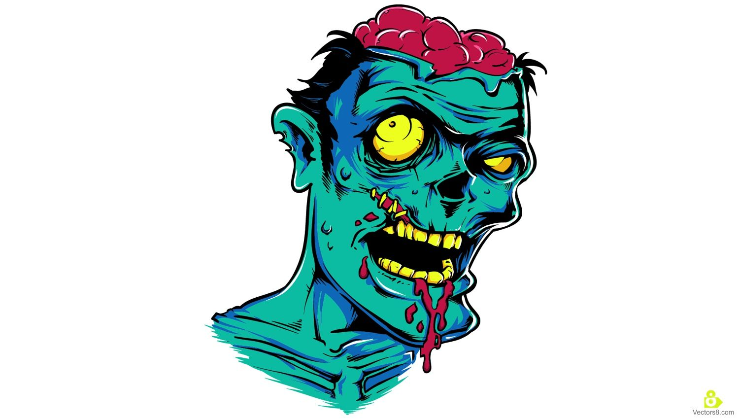 1500x850 Scary Zombie Face Free Vector Amp Clipart Design Backgrounds