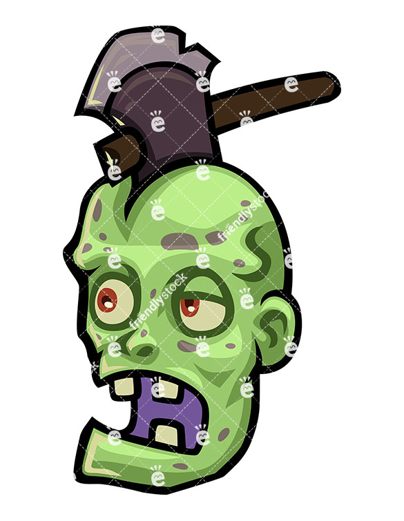 585x755 Scary Zombie With An Axe Stuck In His Head Vector Clipart
