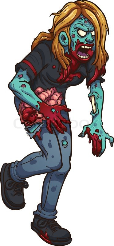 371x800 Walking Zombie Woman. Vector Clip Art Illustration With Simple