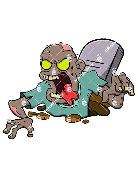585x755 Zombie Coming Out Of Grave Vector Cartoon Clipart