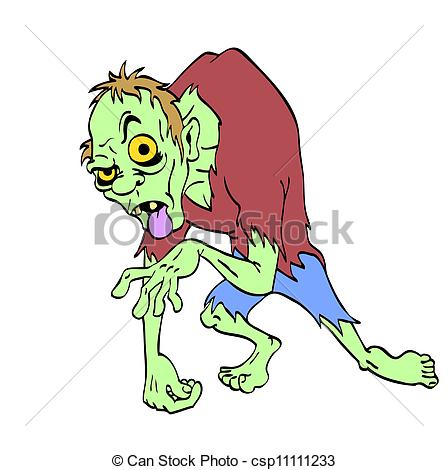 448x470 Zombie Halloween Monster. Hand Drawn Cartoon Of A Creepy