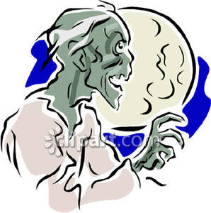 298x300 A Scary Zombie Under A Full Moon Royalty Free Clipart Picture