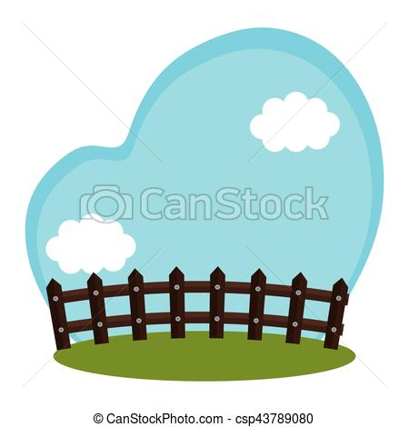 450x470 Field farm with fence scenery vector illustration design vector