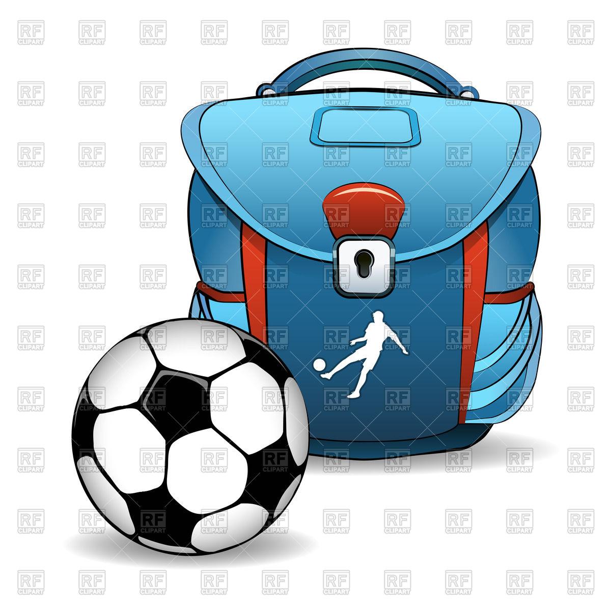 1200x1200 Bleu School Bag And Soccer (Football) Ball Royalty Free Vector