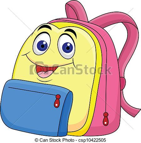 450x456 Vector Illustration Of School Bag Cartoon Character