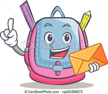 450x389 With Envelope School Bag Character Cartoon Vector Vectors