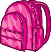 167x170 Girl With Backpack Clipart Pink