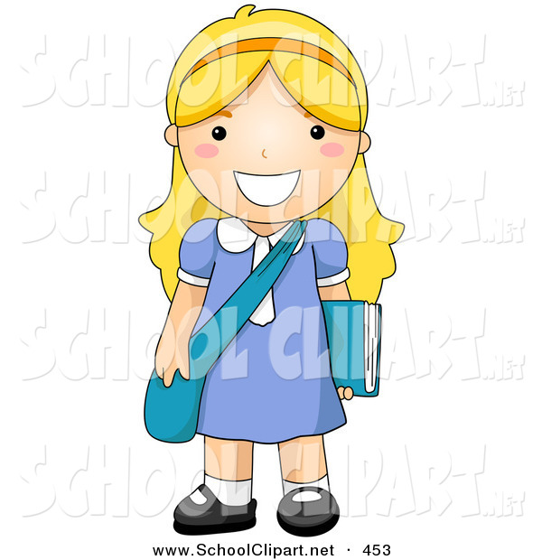 600x620 Clip Art Of A Blond School Girl Standing With Her Shoulder Bag