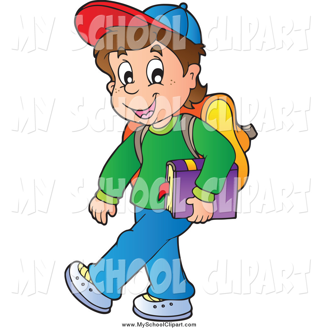 1024x1044 Clip Art Of A Happy Brunette Caucasian School Boy Carrying A Book