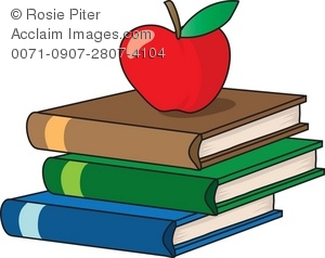 300x238 School Books With Red Apple Royalty Free Clip Art Image