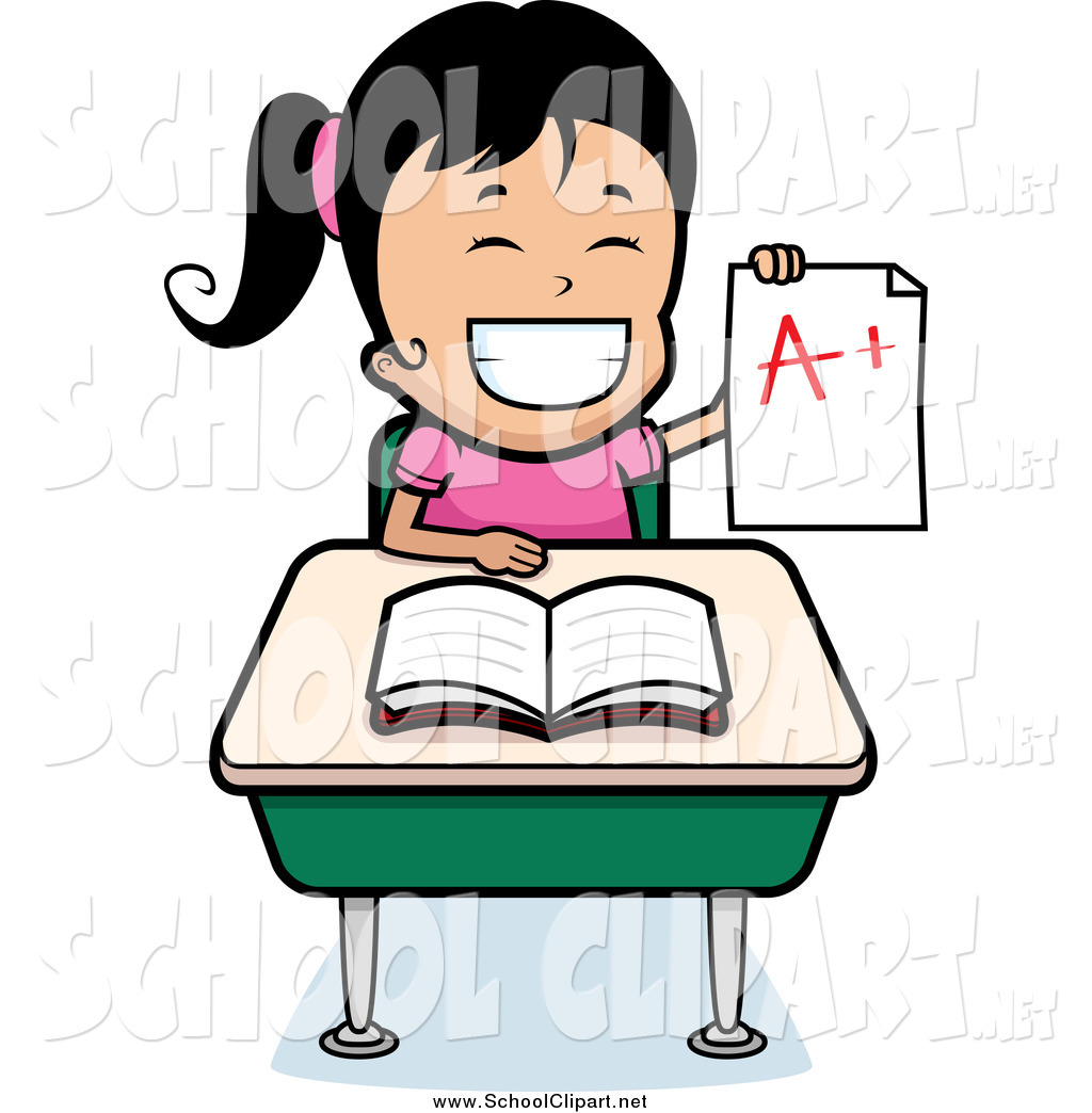 1024x1044 Clip Art Of A Proud Haired School Girl Holding Up An A Plus Report