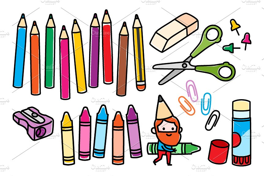 school supplies clipart at getdrawings com free for personal use rh getdrawings com  art supplies clipart black and white