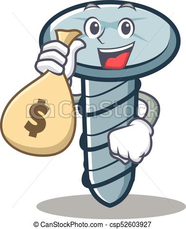 382x470 With Money Bag Screw Character Cartoon Style Vector Vector