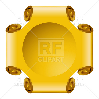 400x400 Golden Frame With Scroll Sides Royalty Free Vector Clip Art Image