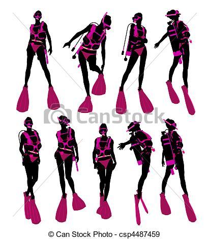411x470 Female Scuba Diver Illustration Silhouette. Female Scuba Stock