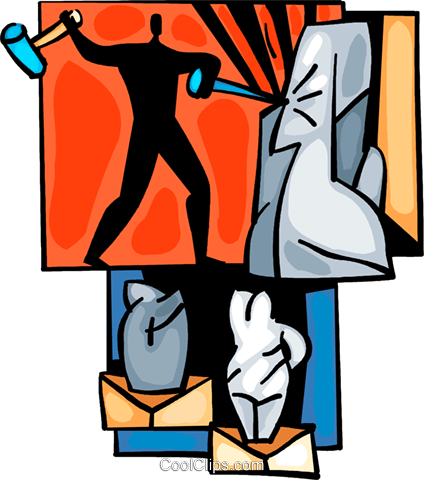 424x480 Sculpture With Hammer And Chisel Royalty Free Vector Clip Art