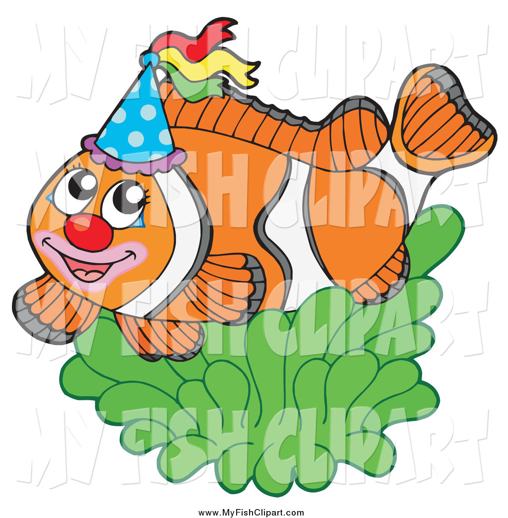 1024x1044 Clip Art Of A Party Clownfish With A Hat And Green Anemone By