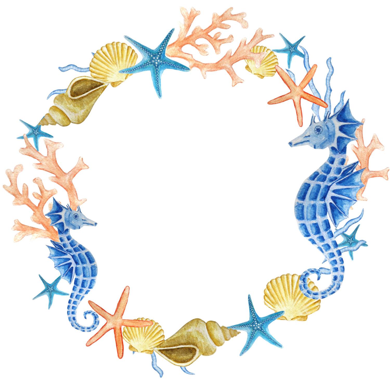 1500x1500 Watercolor Wreath Clipart, Sea Clipart, Ocean Wreath, Seahorse