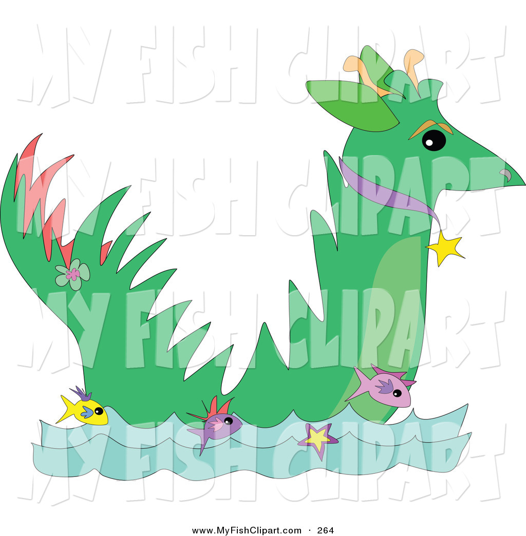 1024x1044 Clip Art Of A Green Dragon Wearing A Collar While Facing Right