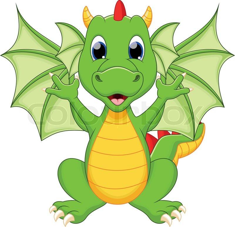 800x774 Cute Dragon Cartoon Stock Vector Colourbox