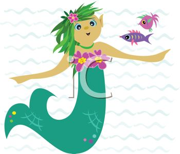 350x301 Royalty Free Clipart Image Cute Mermaid Under The Sea With Fish