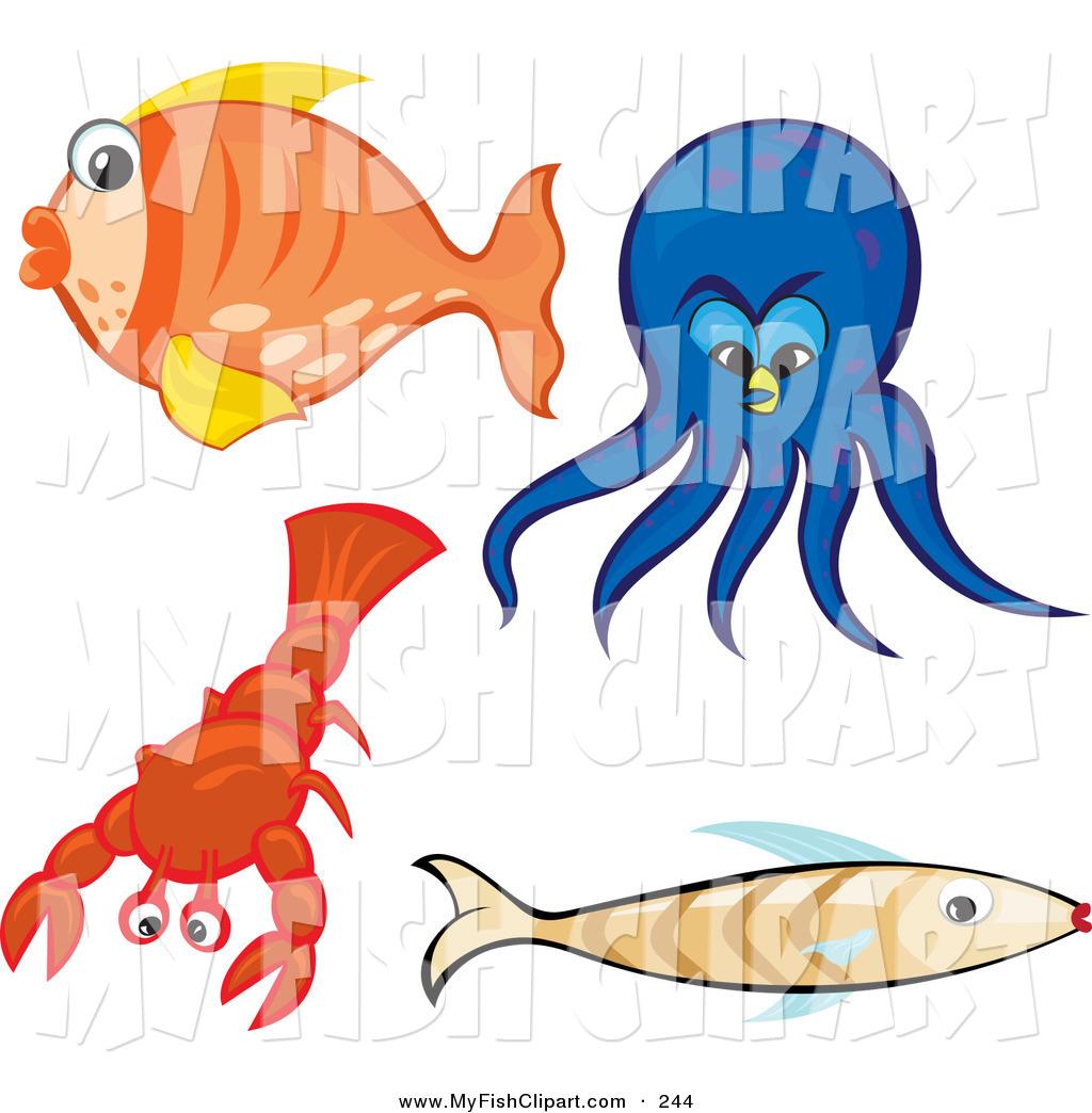 1024x1044 Clip Art Of A Set Of Sea Creatures Orange Goldfish, Blue Octopus