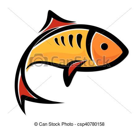 450x410 Fish Logo. Logo Of Little Yellow Sea Fish. Clipart Vector
