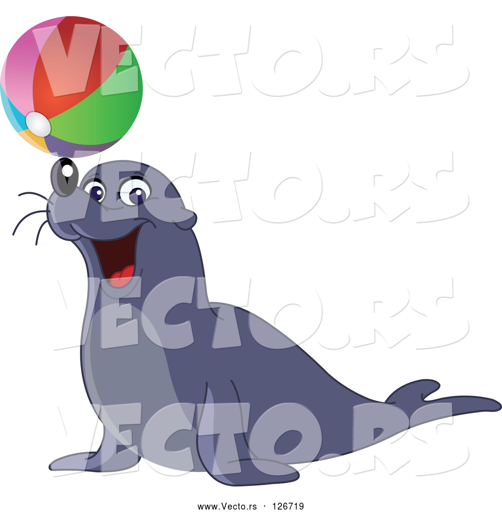 1024x1044 Vector Of And Entertaining Sea Lion Balancing A Colorful Beach