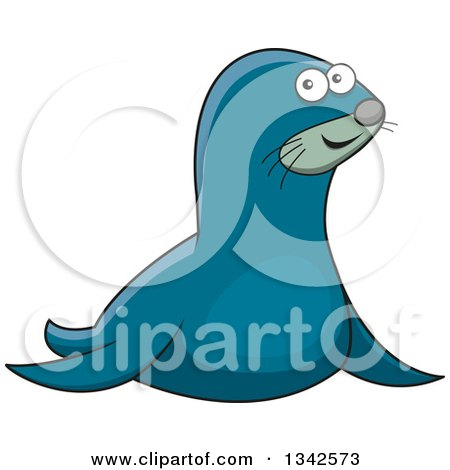 450x470 Clipart Of A Cartoon Outlined Black And White Sea Lion