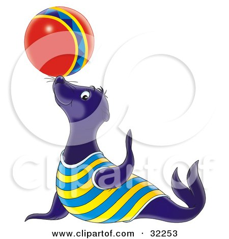 450x470 Clipart Of An Outlined Cute Sea Lion