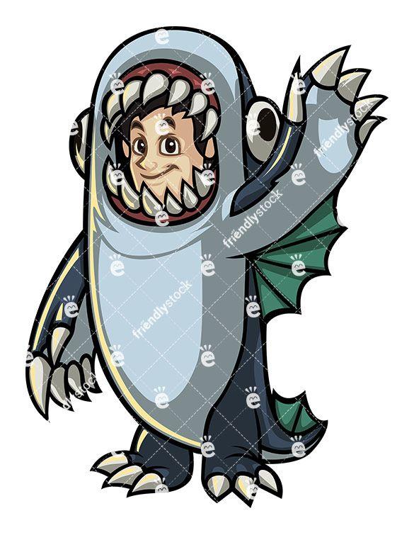 585x755 Man Wearing Halloween Sea Monster Costume Vector Clipart