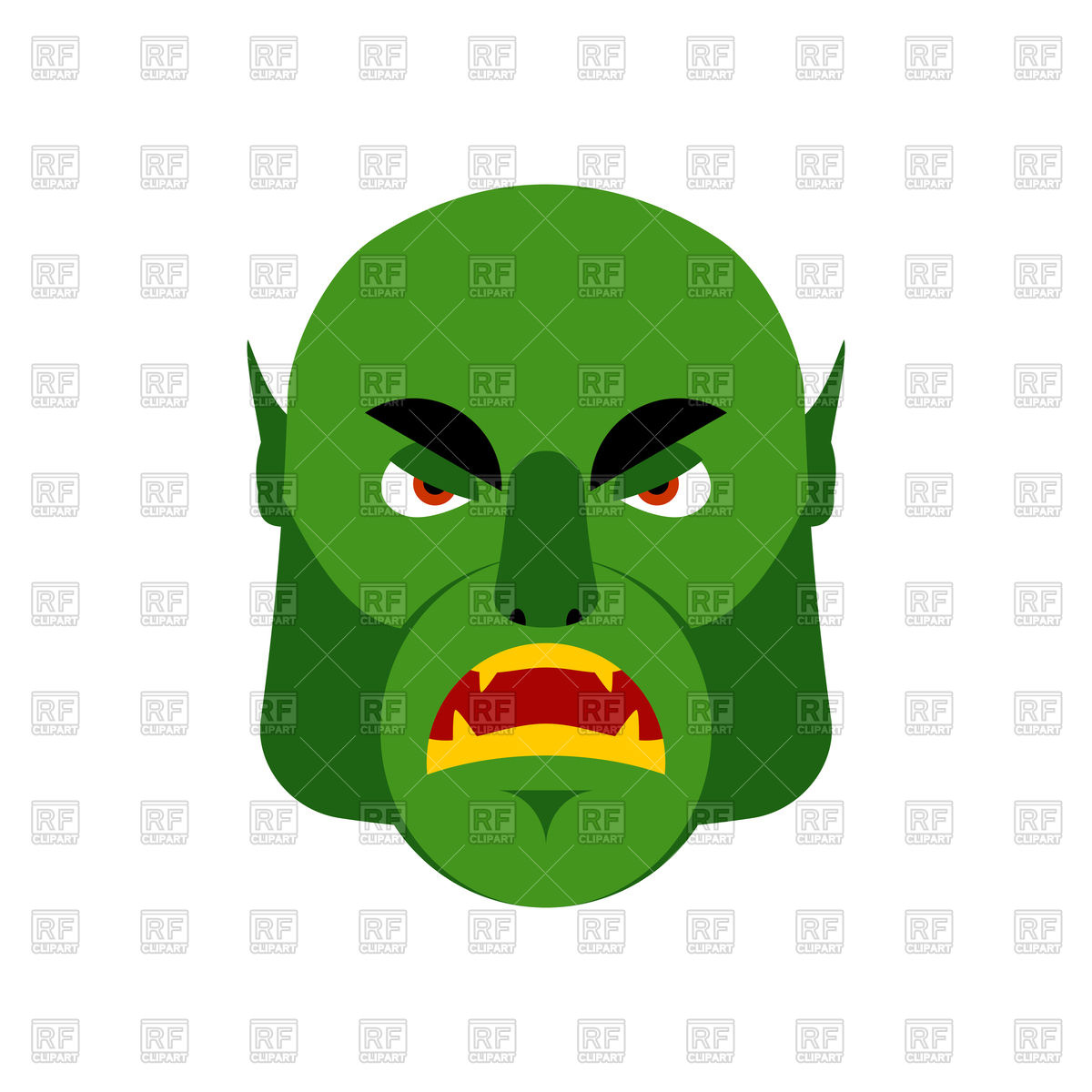 1200x1200 Ogre Angry Emoji. Goblin. Green Monster Face Royalty Free Vector