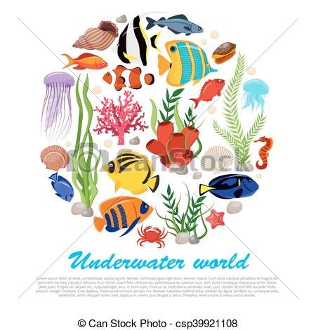 450x470 Sea Life Poster. Sea Life Animals Plants Poster With Vector