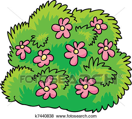 450x406 Clip Art Of Bush With Flowers K7440838 Search Clipart