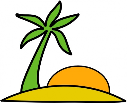 425x344 Free Download Of Island, Palm, And The Sun Clip Art Vector Graphic