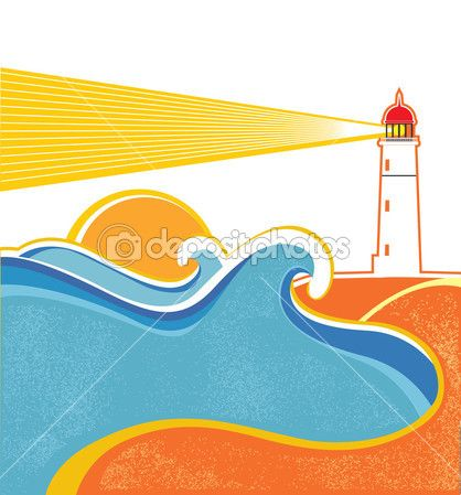 418x449 Seascape Horizon. Vector Illustration With Lighthouse On White
