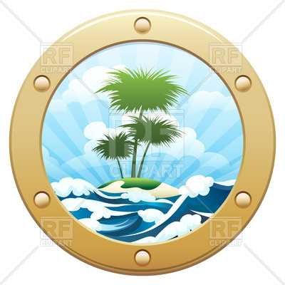 400x400 View From Ship Porthole To A Tropical Island With Palm Trees
