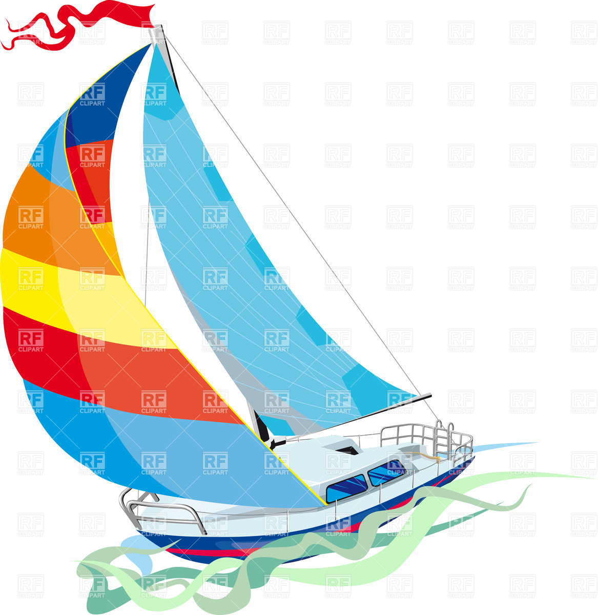 1167x1200 Yacht Sailing On Waves Royalty Free Vector Clip Art Image