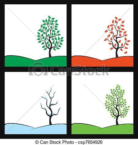 450x470 Seasons Illustration Tree On Hill Clip Art Vector