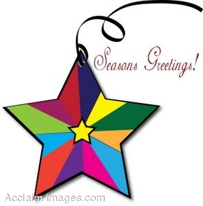 295x300 Clip Art Of A Colorful Star Shaped Ornament With Seasons Greetings