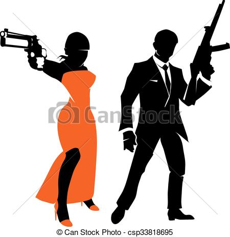 450x463 Silhouettes Of Spy Couple. Vector Characters. Silhouettes Of Spy