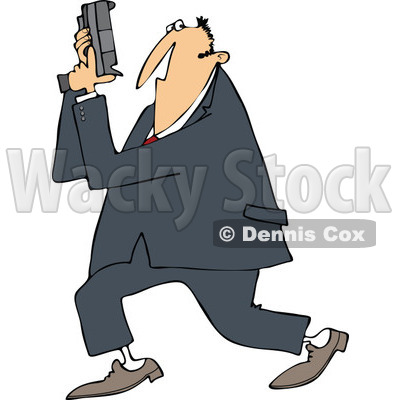 400x400 Cartoon Of A Secret Agent Man Holding Up His Firearm