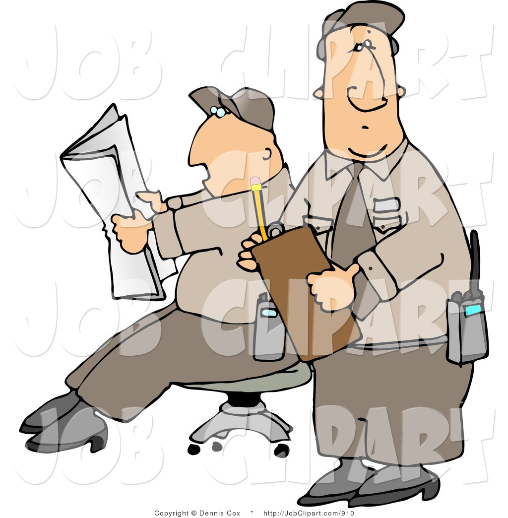 1024x1044 Job Clip Art Of Two Male Security Guards Relaxing On The Job By